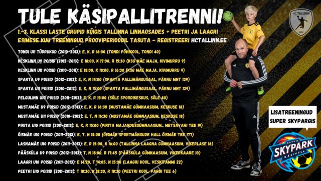 HC Tallinn pakub 1.-3. klassi laste treeninguid kõigis Tallinna linnaosades