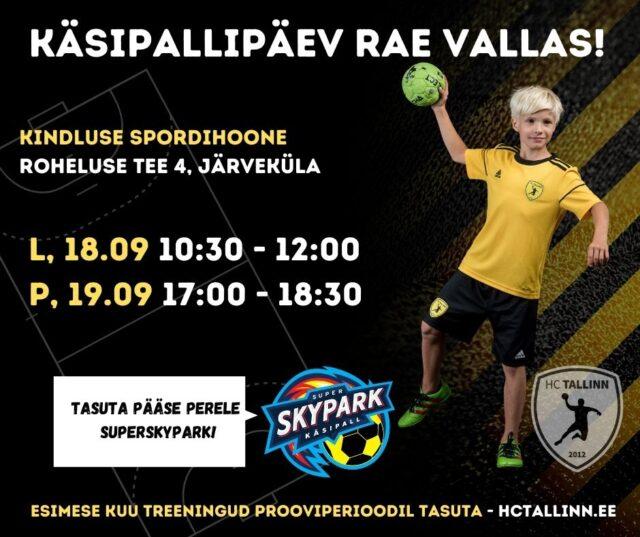 HC Tallinn kutsub Rae valla poisse käsipallipäevale uude Kindluse spordihoonesse